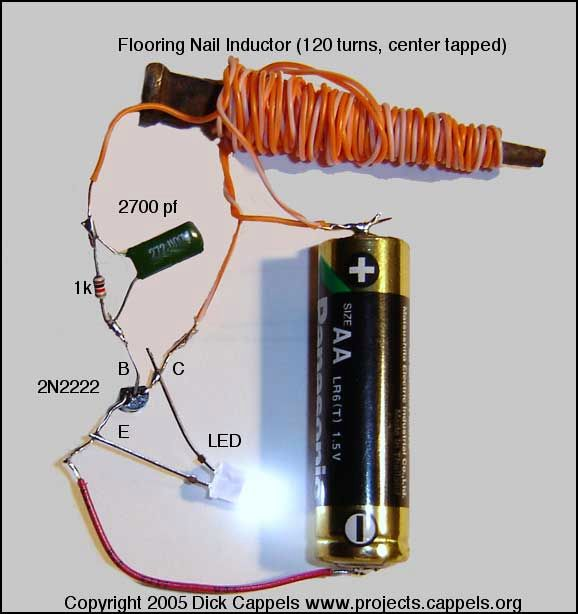 Convert Schematic To Breadboard together with 6 L u Led Dengan Satu Baterai together with Index additionally Building The Joule Thief Circuit Testing also Simple Led Torch Using Single Aa 1 5v Battery. on joule thief aa battery led circuit