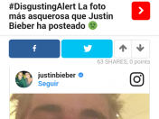 Desagradable! Asquerosa foto que Justin Bieber ha publicado